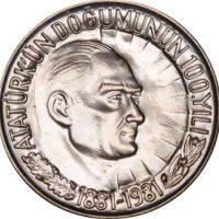 Turkey 1 Lira 1981 100 Years From Birth of Kemal Ataturk