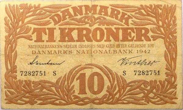 Χαρτονόμισμα Denmark 10 Kroner 1942