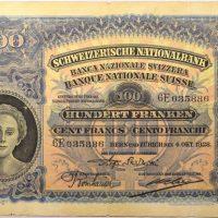 Χαρτονόμισμα Ελβετία Switzerland 100 Francs 1928