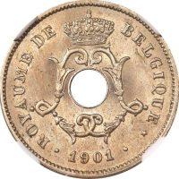 Βέλγιο Belgium 10 Centimes 1901 NGC MS64 Rare Grade!