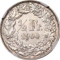 Ελβετία Switzerland 1/2 Franc 1904 NGC AU50 Rare Grade