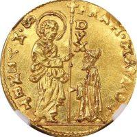 Ιταλία Italy Venice 1 Zecchino 1688-94 Fransesco Morosini NGC MS64+