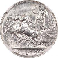 Ιταλία Italy 1 Lira 1917 NGC Unc Details Cleaned