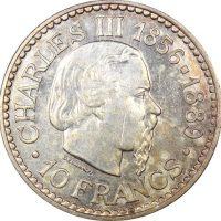 Μονακό Monaco 10 Francs 1966 Silver Charles III