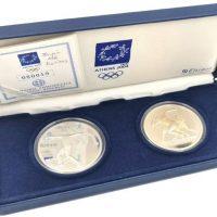 Σετ Δύο Ασημένιων Νομισμάτων 10 Ευρώ Αθήνα 2004 Με Κουτί