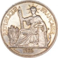 French Indo China 1 Piastre 1925 Silver