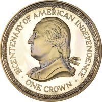 Isle of Man One Crown 1976 Bicentenary Of American Independence