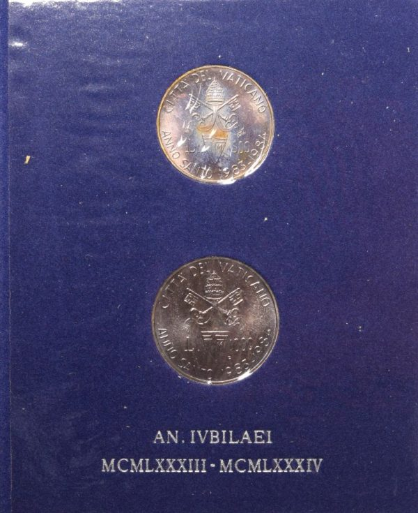 Vatican Pope John Paul II Silver 2 Coin Mint Set 1983 1984