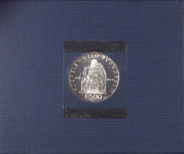 Italy 500 Lire 1975 Silver Coin Michaelangelo Case and Certificate