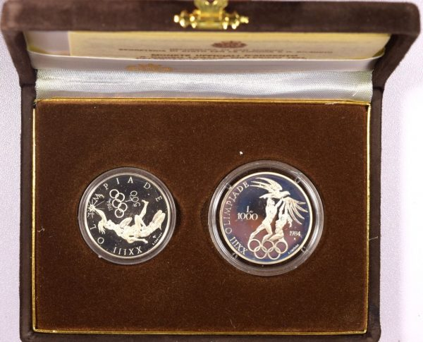 San Marino 1984 500 And 1000 Lire Silver Olympic Games