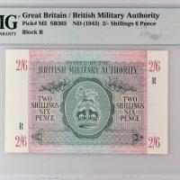 British Military Authority 2/6 1943 Block R Greece PMG 65EPQ Top Grade