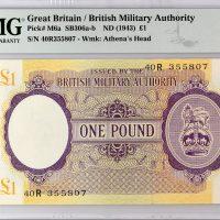 British Military Authority 1 Pound 1943 Block R Greece PMG 66EPQ