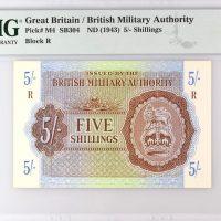 British Military Authority 5 Shillings 1943 PMG 67EPQ