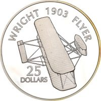 Solomon Islands Silver 1 Oz 25 Dollars 1973 Wright Flyer 1903