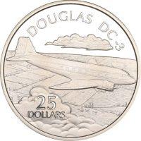 Solomon Islands Silver 1 Oz 25 Dollars 1973 Douglas DC3