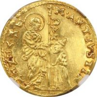 Italy Venice Gold Zecchino Marcantonio Giustinian 1684-1688 NGC MS61