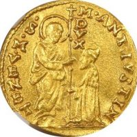 Italy Venice Gold Zecchino Marcantonio Giustinian 1684-1688 NGC MS63