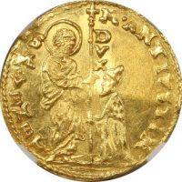 Italy Venice Gold Zecchino Marcantonio Giustinian 1684-1688 NGC UNC Details