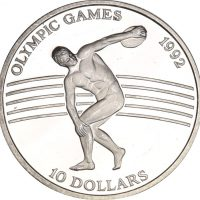 Niue 10 Dollars Silver 1991 Olympic Games 1992