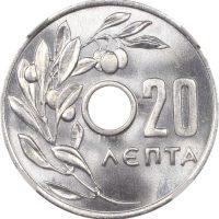 Ελλάδα Νόμισμα Παύλος 20 Λεπτά 1954 NGC MS66+