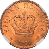 Νόμισμα 2 Λεπτά 1900 Κρητική Πολιτεία NGC MS65+
