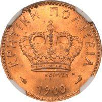 Νόμισμα 2 Λεπτά 1900 Κρητική Πολιτεία NGC MS65 RED