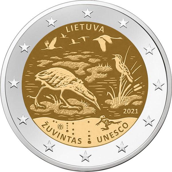 Λιθουανία Lithuania 2 Ευρώ 2021 Zuvintas Unesco Ακυκλοφόρητο