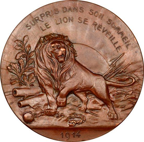 Belgium World War I Copper Commemorative Medal 1914 Lion Yzer