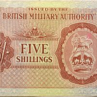 British Military Authority 5 Shillings 1943 Circulated Condition