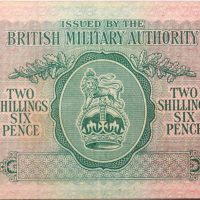 British Military Authority 2 Shillings 6 Pence 1943