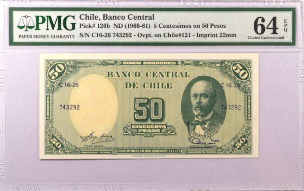 Χιλή Chile 5 Centesimos on 50 Pesos 1960 PMG 64