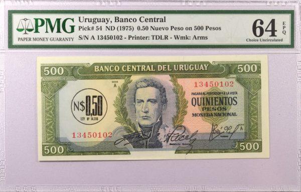 Ουρουγουάη Uruguay 0.5 New Pesos on 500 Pesos 1975 PMG 64 EPQ