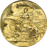 Athens 1896 Olympic Games Gold Plated Participation Medal With Case FDC