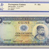 Portuguese Guinea 100 Escudos 1971 Ultramarino Bank WBG 55