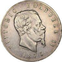 Ιταλία Italy 5 Lira 1875 Vitorio Emanuele II