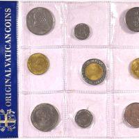 Vatican Souvenir Set Uncirculated 9 Piece Lire Coins Pope John Paul II