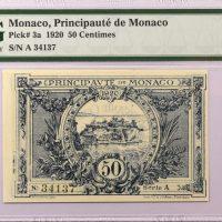 Μονακό Monaco 50 Centimes 1920 PMG 58EPQ