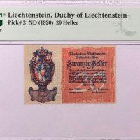 Λιχτενστάιν Liechtenstein 20 Heller 1920 PMG 65 EPQ