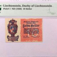 Λιχτενστάιν Liechtenstein 10 Heller 1920 PMG 65 EPQ