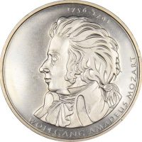 Germany Silver 10 Euro Coin Wolfgang Amadeus Mozart 2006 Proof