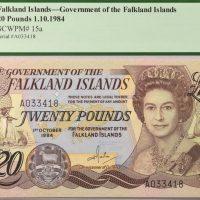 Νήσοι Φώκλαντ Falkland Islands 20 Pounds 1984 PCGS 63PPQ