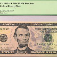 Ηνωμένες Πολιτείες United States 5 Dollars 2006 Star Note PCGS 66PPQ