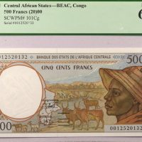 Central African States Congo 500 Francs 2000 PCGS 67PPQ