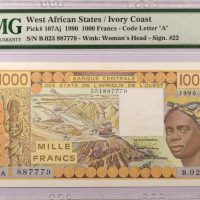 West African States Ivory Coast 1000 Francs 1990 PMG 63