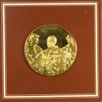 Franklin Mint Gold Plated Medal Portrait of Leo X And Two Cardinals By Raphael