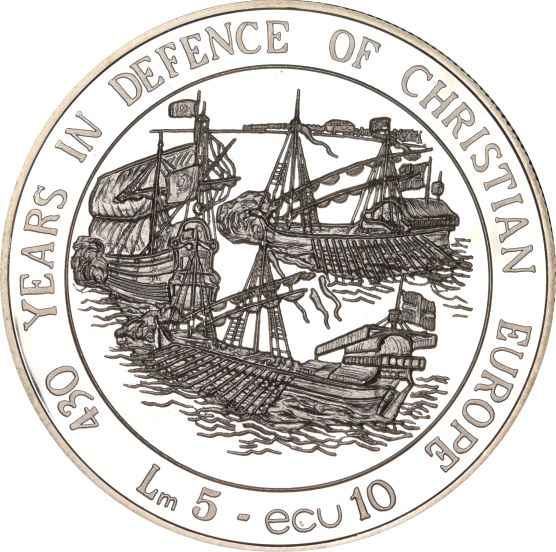 Malta 5 Lira 10 ECU 1993 Silver 430 Years Defense Of Christian Europe