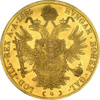 Austria 4 Ducats 1881 Gold Almost Uncirculated - Uncirculated Very Rare