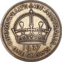 Αυστραλία Australia One Crown 1937 Silver High Grade